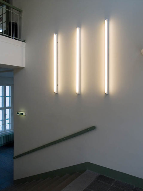 heinz gappmayr, light installation in the central stairwell of the danube university krems